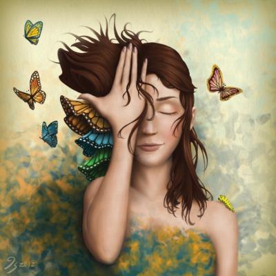 Jeune femme aux papillons