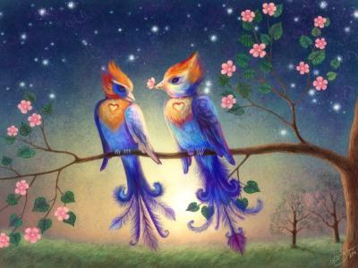 L'amour deux oiseaux bleus