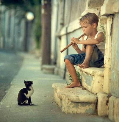 Enfant à la flûte et chaton