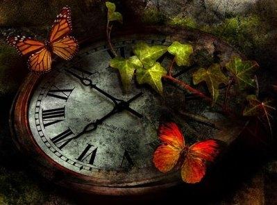 Horloge coeur papillons