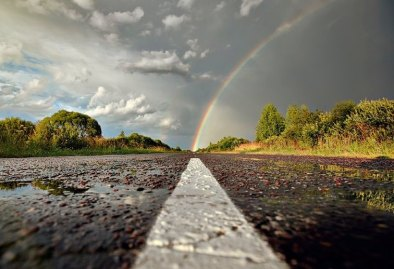rainbow-on-road