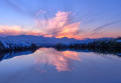 Ciel nuage rose calme
