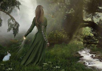 Fille forêt croyances